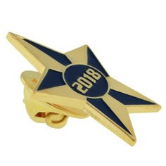 "2018 Blue and Gold Star Pin. 1"" gold plated, blue enamel filled. Starts at $3.95"