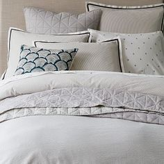 Seersucker Pinstripe Duvet Cover + Shams #westelm - with that brown crate and barrel quilt?