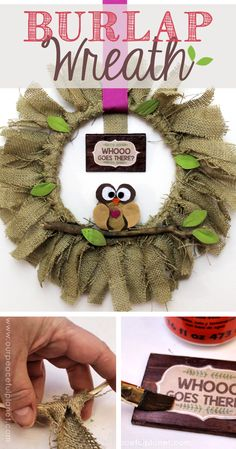 """Quickly & inexpensively decorate your door or walls with this burlap wreath! All you need is a little burlap material & one side of an 8"""" embroidery hoop."""
