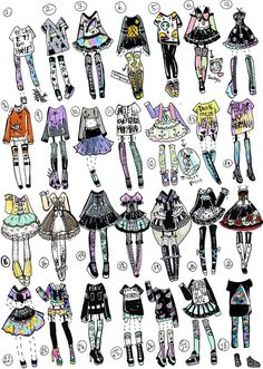 Finally I had time to do another 28 pack pastel goth/grunge themed outfits!I am excited as always NO: Payment plans,HOLDS (send payme. Fashion Design Drawings, Fashion Sketches, Art Sketches, Drawing Anime Clothes, Clothing Sketches, Themed Outfits, Character Outfits, Anime Outfits, Pastel Goth