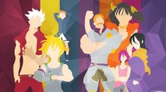 The Seven Deadly Sins Members Anime Minimalist Wallpaper