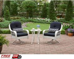 Patio Bistro Set 3 Pcs Swivel Chairs White Wicker Glass Table Outdoor Furniture #BistroSet