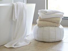 // Coyuchi Cloud Loom Towels // warm bubble baths mean cloud like pillows //