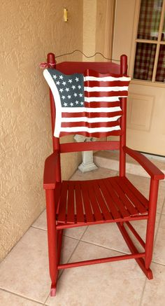 My Red Rocking Chair and Tin American Flag Outdoor Chairs, Outdoor Furniture, Outdoor Decor, Red Rocking Chair, American Flag, Tin, Home Decor, Decoration Home, American Fl