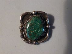 Vintage Native American Green Turquoise Pendant Signed by BathoryZ, $119.00