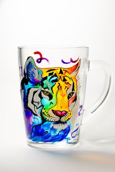 Tiger Gift for him Coffee mug Mens Cup Tiger painting Gift for Boyfriend Personalized gift Hand painted mug