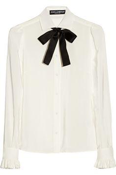 b8fd459f3fae85 Dolce   Gabbana - Silk crepe de chine pussy-bow blouse