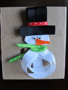 Items similar to Snowman Ribbon Sculpture Hair Clip on Etsy Ribbon Hair Clips, Ribbon Art, Ribbon Hair Bows, Diy Hair Bows, Ribbon Crafts, Hair Barrettes, Hairbows, Ribbon Flower, Fabric Flowers
