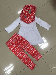 Preorder-White top and Reindeer leggings and Scarf set