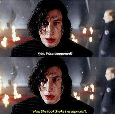 Rey left him, his face