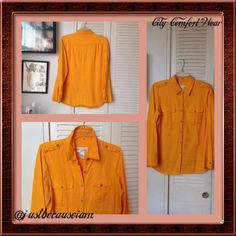 """HOST PICK """"10/12/15"""" Tangerine Long Sleeve Shirt 55% linen, 45% rayon.  Button down the front with long sleeves with button tabs on shoulders.  Collar can be worn up/down.  Back top bodice with two pleats.  Worn a couple of times at most.  Perfect condition.  Be. Chadwick's  Tops"""