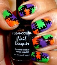 patchwork nail art design for Halloween in green orange purple black