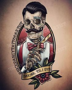 Barber Logo, Barber Tattoo, Skeleton Tattoos, Skull Tattoos, Torso Tattoos, Tatuagem Old Scholl, Spider Web Tattoo, Beard Barber, Catrina Tattoo