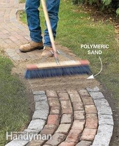 Keep sand in the cracks. Dry sand tends to get washed away or swept out of paver brick and stone patio joints. One solution is to use special polymeric sand that binds together when wetted. You can buy the polymeric additive and mix it with dry sand yourself, or you can buy premixed bags of sand.