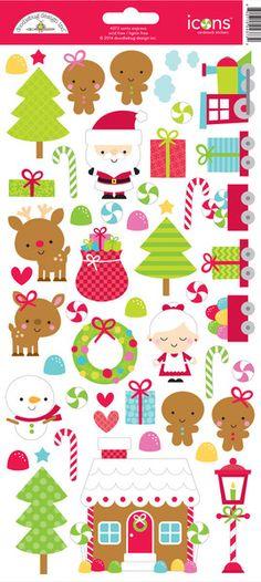 Doodlebug Design - Santa Express Collection - Christmas - Cardstock Stickers - Icons at Scrapbook.com