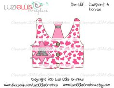 Print your own Iron on - Sheriff Cowgirl vest, pink cow print, tie, sheriff badge letter A abc, initials - Digital Sheet - digital transfer by LuziEllisGraphics on Etsy Sheriff Badge, Pink Cow, Cow Print, Initials, My Etsy Shop, Vest, Iron, Lettering, Tie