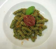Fresh pesto and fusilli pasta! #basil #pesto #pasta #fusilli #homemade