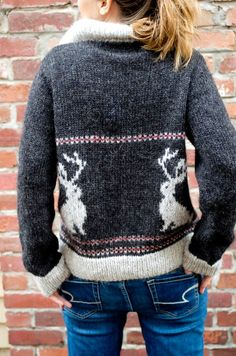 Knitting Pattern for the Jackalope - cowichan style sweater / cardigan Animal Knitting Patterns, Sweater Knitting Patterns, Knitting Yarn, Knit Patterns, Baby Knitting, Knitting Sweaters, Cowichan Sweater, Sweater Cardigan, Christmas Knitting
