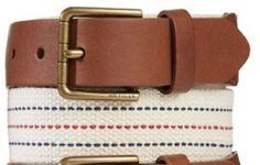 Tommy Hilfiger Belt Leather Tab Fabric White Red Blue www.stores.ebay.com/styleontherun4u