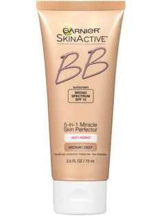 Miracle Skin Perfector BB Cream Anti-Aging in Medium/Deep by Garnier SkinActive. Moisturizing formula for younger looking skin and a more even skin tone. Best Bb Cream Drugstore, Best Drugstore Tinted Moisturizer, Drugstore Beauty, Bb Cream Before And After, Bb Cream For Oily Skin, Best Cc Cream, Beauty Balm, Beauty 101, Anti Aging Cream