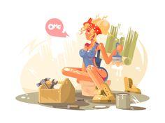 Girl painter by Anton Fritsler (kit8) #Design Popular #Dribbble #shots