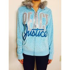 Justice 'Peace' zip up sweater Justice 'peace' zip up sweater with fur hood and leopard print. Reason for selling: gift. Size 16 girls not women. Excellent condition Justice Sweaters