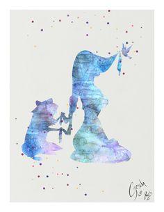 Pocahontas and Meeko archival fine art print Walt by TentakittyInk