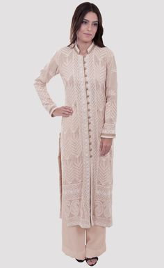 Oyster Pink Hand Embroidered Chikankari With Kamdaani Jacket Suit