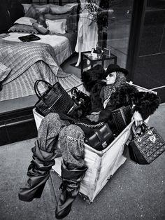 Magdalena Langrova Plays Bag Lady for Sebastian Kims Vogue Germany Shoot