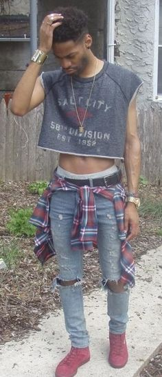 Man wearing a grungy crop top