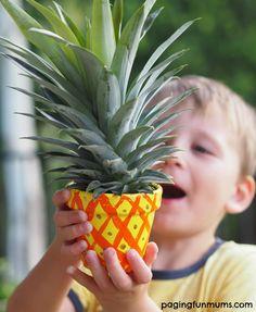 Kid Made Pineapple Planters - Paging Fun Mums Diy Gifts For Kids, Fun Crafts For Kids, Toddler Crafts, Diy For Kids, Cool Kids, Spring Activities, Activities For Kids, Pineapple Top, Creative Arts And Crafts