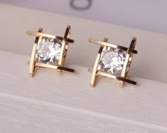 """Universe of goods - Buy """"Elegant and Charming Black Rhinestone Full Crystals Square Stud Earrings for Women Girls Statement Piercing Jewelry for only USD. Black Rhinestone, Rhinestone Earrings, Women's Earrings, Gold Stud Earrings, Crystal Earrings, Diamond Solitaire Earrings, Diamond Studs, Diamond Pendant, Ear Jewelry"""