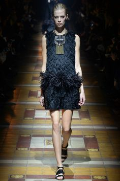 Lanvin | Fall 2014 Ready-to-Wear Collection | #feather plunge with statement necklace #mizustyle