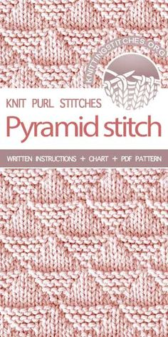-- The Art of Knitting, knit Pyramid stitch Knit Purl Stitches, Dishcloth Knitting Patterns, Knitting Stiches, Knitting Blogs, Easy Knitting, Knitting Needles, Knitting Projects, Crochet Patterns, Tricot D'art