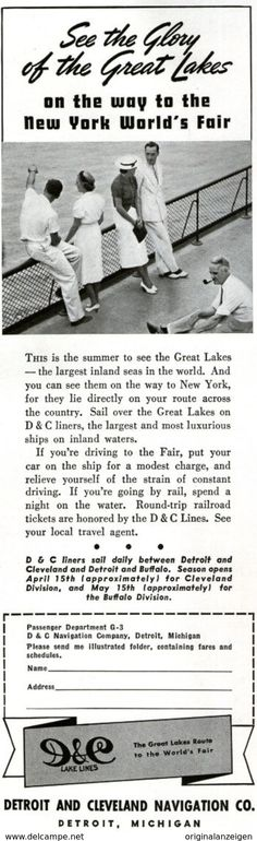 USA : Original - Anzeige / Advertise 1939 (ENGLISH) - DETROIT AND CLEVELAND NAVIGATION CO. - Ca. 65 X 220 Mm - Werbung