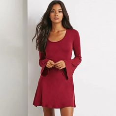 RARA Women Casual Slim Loose A-Line Dress O-Neck Flare Long Sleeve Autumn Dresses All Match Plus Size Female Vestidos