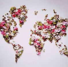 a map made of flower petals - such a gorgeous unexpected flower arrangement