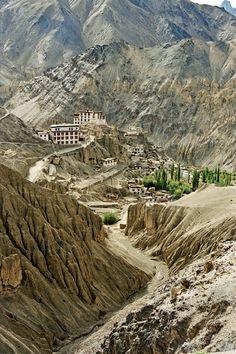 Lamayuru monastery situated on the Srinagar - Kargil - Leh road  in Ladakh, India