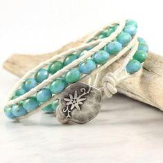 Sea Green Bracelet Blue Wrap Bracelet Boho by AbacusBeadCreations