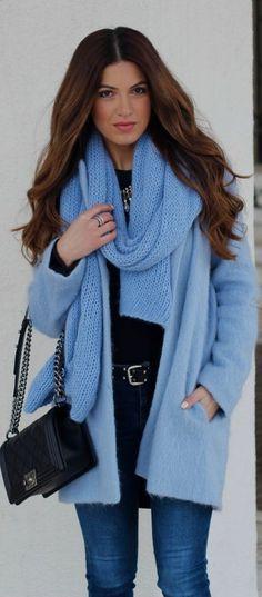 Street style fashion / karen cox. Baby #Blue On Dark Days by Negin Mirsalehi