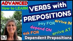 Why are some verbs followed by different prepositions? How best learn verbs with prepositions, as well as nouns & adjectives followed by prepositions? These are called DEPENDENT PREPOSITIONS and cause many students a lot of trouble - however, there are three fun ways to learn them in context, so find out in my video for advanced English learners. Speak English Fluently, Nouns And Adjectives, Advanced English, Prepositions, Students, Learning, Fun, Studying, Teaching
