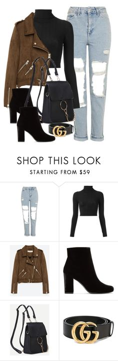 """Untitled #3401"" by camilae97 ❤ liked on Polyvore featuring Topshop, À La Garçonne, Freebird, Yves Saint Laurent and Gucci"