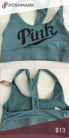Victoria's Secret Ultimate Sports Bra Baby Blue Sports Bra with PINK logo in front , Ultimate Sports Bra , Size Extra Small Victoria's Secret Intimates & Sleepwear Bras
