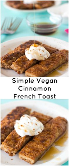 This Simple Vegan Cinnamon French Toast has is made with just 5 ingredients, is so deliciously crisp on the outside and soft on the inside. Sub almond milk for soy