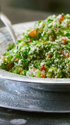 """Cauliflower Tabouli - {Low Carb, Grain-Free, Paleo- This simple blend fools even the most devoted """"raw cauliphobes"""" who don't even realize the fluffy white stuff they are scoffing with delight is cauliflower! Raw Vegan Recipes, Heart Healthy Recipes, Paleo, Vegetable Recipes, Healthy Dinner Recipes, Whole Food Recipes, Vegetarian Recipes, Cooking Recipes, Vegan Raw"""