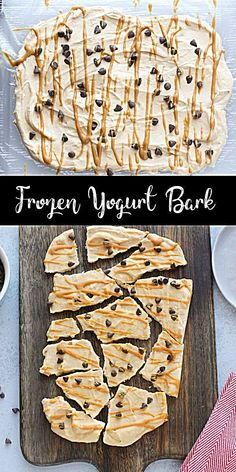 Healthy Snacks Discover Frozen Yogurt Bark This chocolate peanut butter yogurt bark is an easy healthy dessert! You can store it in the freezer and grab a piece when you need a sweet treat! Its high in protein with no refined sweetener! Healthy Sweet Treats, Healthy Dessert Recipes, Healthy Sweets, Gourmet Recipes, Snack Recipes, Healthy Food, Easy Desserts, Healthy Deserts, Desserts With Yogurt