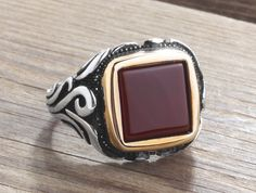 925 Silver Man Ring with Agate Size 10-11-12 Men's Handmade Gemstone Jewelry #IstanbulJewellery #Statement