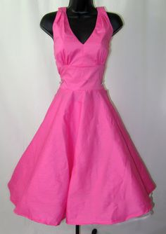 Pink Marilyn Pin Up Dress with circle skirt by RavenBombshell, $99.00