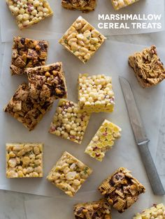 Creative takes on typical rice krispies treats. We use different ingredients with the same proportions for awesome outcomes! Cereal Treats, No Bake Treats, Rice Krispie Treats, Rice Krispies, Yummy Treats, Delicious Desserts, Sweet Treats, Yummy Food, Trix Cereal