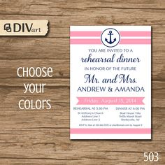 "PRINTABLE 5x7"" Rehearsal Dinner Invitation, Bridal Shower Invitation, Engagement Party Invitation - anchor, navy and pink or any color - 503 by DIVart on Etsy https://www.etsy.com/listing/196217367/printable-5x7-rehearsal-dinner"